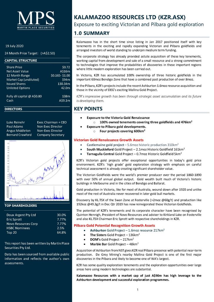 Front page of the Kalamazoo Resources research report from Martin Place Securities