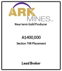 Ark Mines: near term Gold Producer. Tombstone for the A$400,000 Section 708 placement Capital Raising where MPS was Lead Broker.