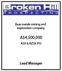Broken Hill Prospecting: Base metals mining and exploration company. Tombstone for the A$4,500,000 ASX IPO & NZSX IPO Capital Raising where MPS was Lead Manager.